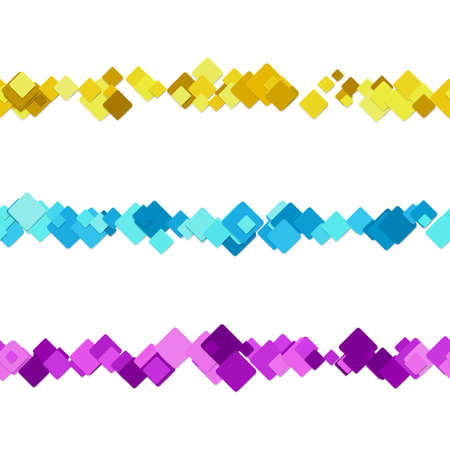 website header: Repeatable square pattern paragraph separator line design set - vector elements from colored diagonal rounded squares Illustration