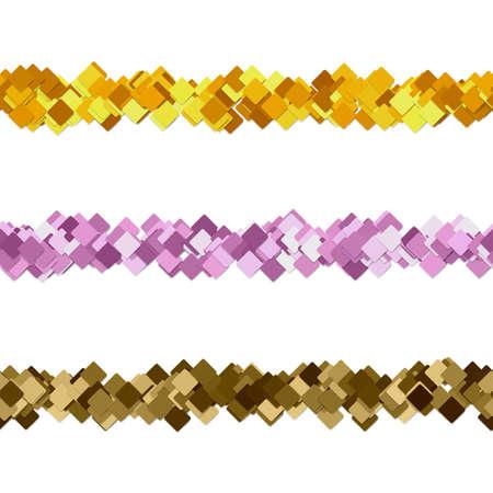 Repeatable random square pattern paragraph dividing line design set.