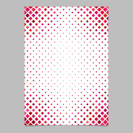 Color diagonal square pattern brochure background template - vector graphic design from squares in red tones Illustration