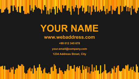 Modern business card template - vector id card design with vertical stripes in XYZ tones on black background