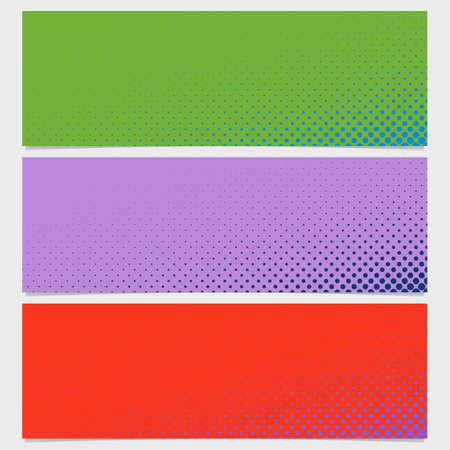 sized: Halftone circle pattern banner background - vector design from dots in varying sizes illustration. Illustration