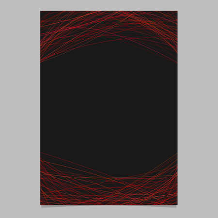 Stationery template with curved lines in dark red tones - blank vector stationery illustration on black background