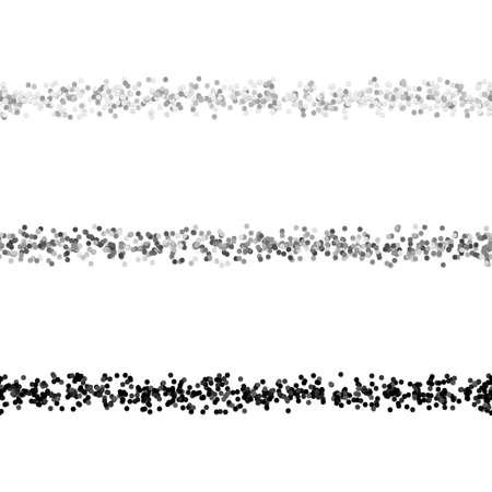 Repeatable random dot pattern text dividing line design set - vector graphic design elements from grey circles