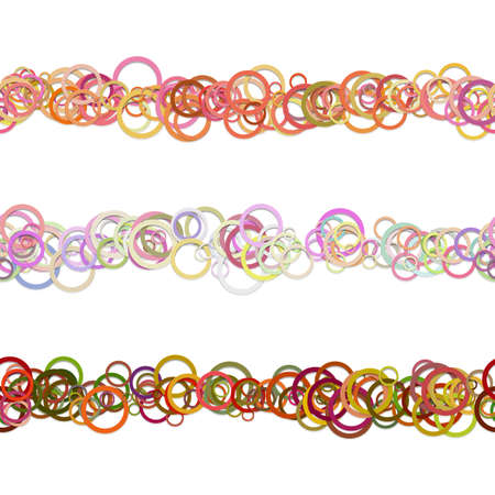 Circle pattern webage separator line design set from colored rings - repeatable vector graphic design elements Illustration