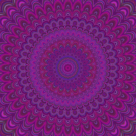 Dark purple mandala ornament background - round symmetrical vector pattern graphic design from concentric ellipses