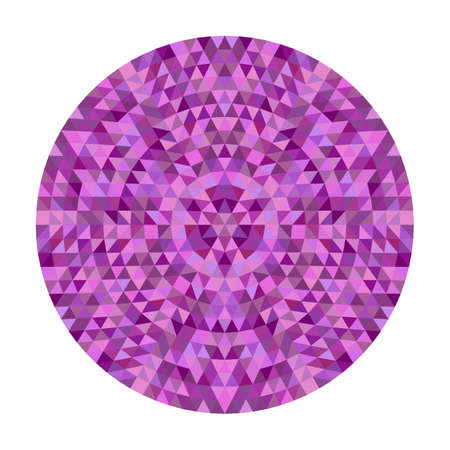 Round abstract triangle kaleidoscopic mandala design - symmetrical vector pattern graphic from colored triangles Illustration