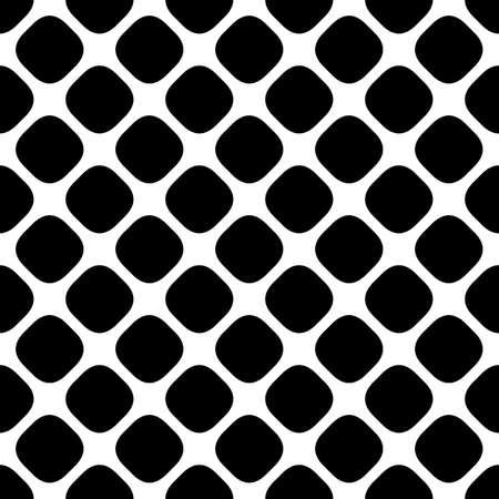 斜めの丸みを帯びた正方形のドットのモノクロ正方形パターンを抽象グラフィック