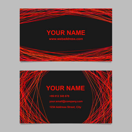 Abstract geometrical business card template design set - vector identity card illustration with red curved lines Illustration
