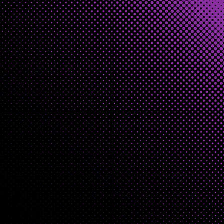 Abstract geometric halftone dot pattern background - vector design from purple circles in varying sizes on black background Illustration