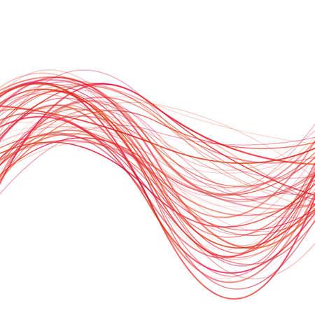 Dynamische abstrakte Wellenlinie Hintergrund - Illustration von rot gebogenen Streifen Standard-Bild - 86412458
