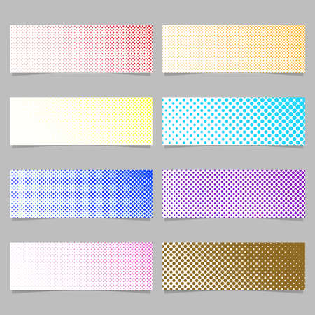 sized: Retro halftone dot pattern banner background design set - horizontal rectangle vector illustrations with circles in varying sizes Illustration