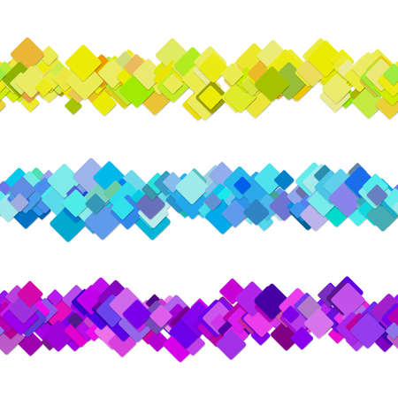 Repeatable square pattern paragraph rule line design set - vector graphic decoration elements from colored diagonal rounded squares Stock Vector - 86471488