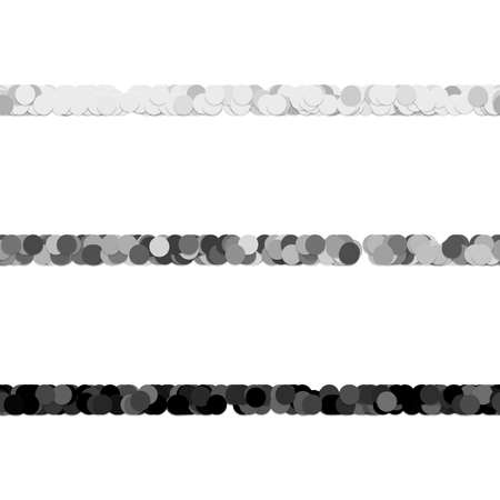 Repeatable abstract circle pattern text dividing line design set - vector graphic elements from grey dots Stock Vector - 86471490