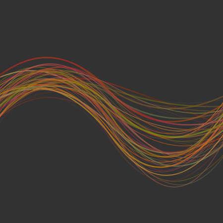 De dynamische abstracte achtergrond van de golfstreep - illustratie van gekleurde gebogen lijnen Stockfoto