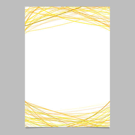 Brochure template with random arched stripes in yellow tones at top and bottom - blank vector illustration on white background