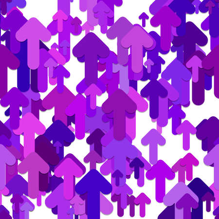 Seamless chaotic arrow background pattern - vector graphic design from rounded up arrows in purple tones with shadow effect