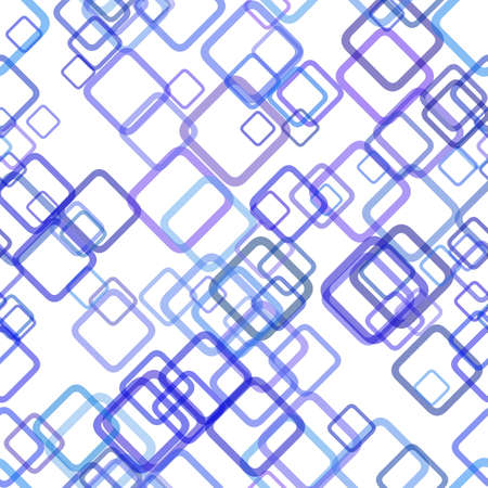 Blue repeating geometric square background pattern - vector graphic design from random diagonal squares with opacity effect