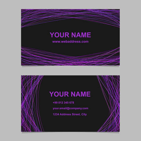 Abstract business card template design set - vector corporate card illustration with purple arched stripes on black background