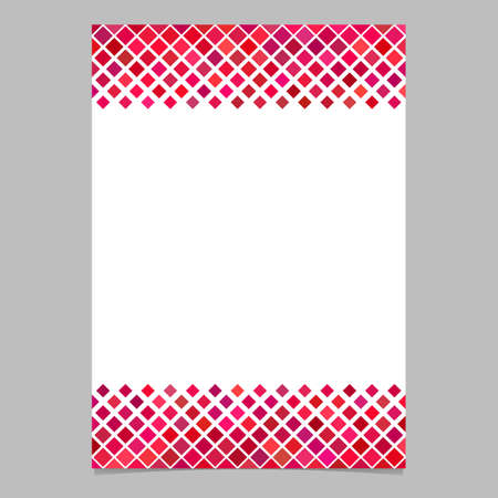 Diagonal square pattern page border template - vector graphic design from squares in red tones with white background for flyers