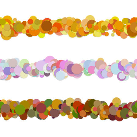 Random dot pattern line separator decoration set from colored circles - vector design elements to divide page parts Illustration