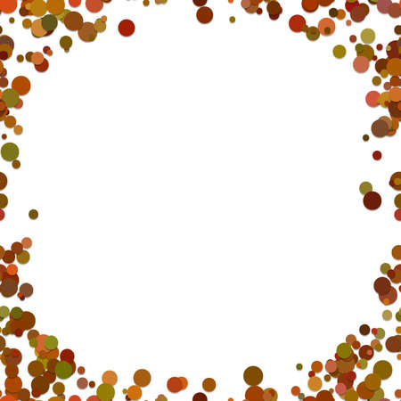 Modern chaotic dot vector graphic design from colored circles on white background.