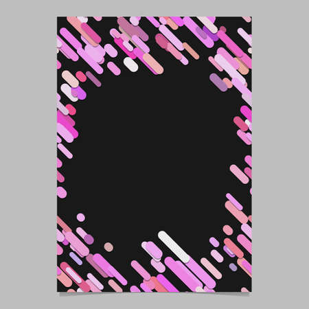 Abstract chaotic rounded diagonal stripe pattern brochure template - blank vector flyer background design from stripes in pink tones on black background