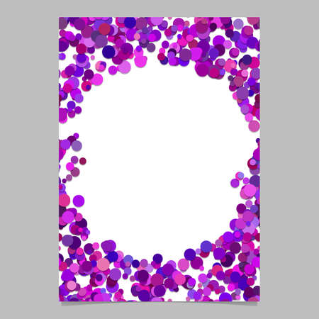 Abstract random dot design page template - trendy vector blank poster border graphic with purple toned circles on white background Illustration