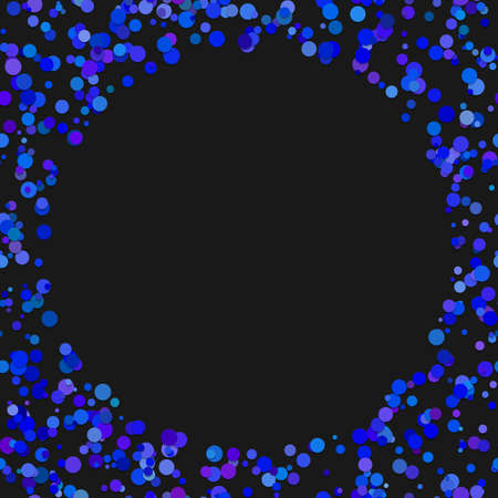 Colored random dot background. A vector illustration from dots in blue tones with blank space in the middle. Illustration