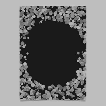 Geometrical chaotic dot pattern page background template. A vector blank brochure border graphic from grey circles.
