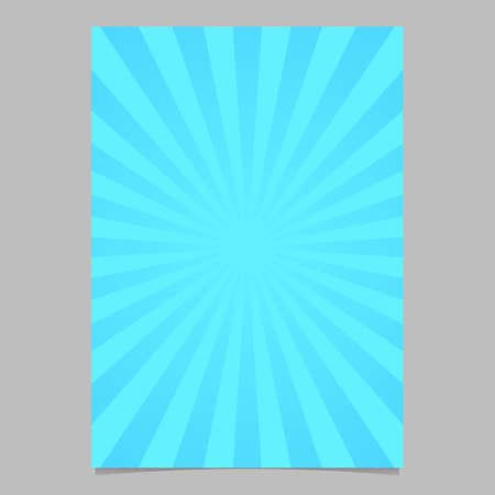 ライトブルーレトロな幾何学的な太陽バーストパンフレット、カードテンプレート - ラジアルストライプパターンからベクトル文房具の背景グラフ