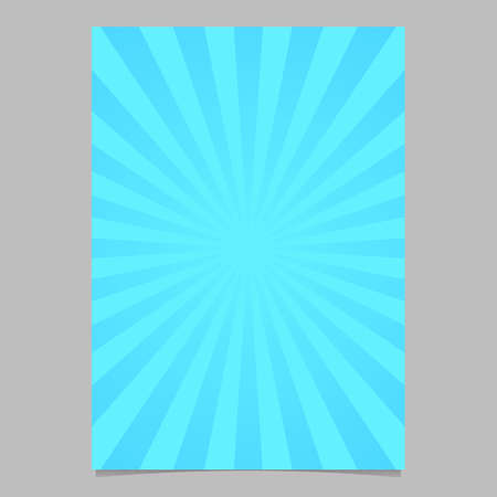 Light blue retro geometrical sun burst brochure, card template - vector stationery background graphic from radial stripe pattern