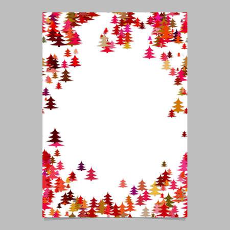 Modern random holiday pine tree presentation template - blank winter vector brochure border background graphic design Çizim