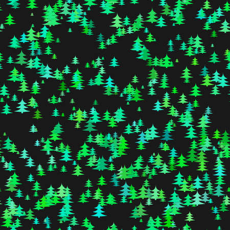 Green random pine tree background - winter vector decoration design