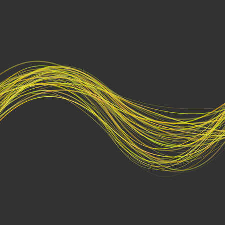 Abstract modern wavy stripe background -  graphic design from yellow curved wave lines on black background