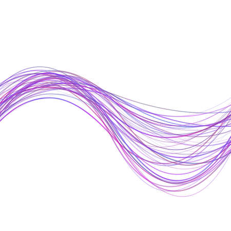 Dynamic abstract wave stripe background - illustration from purple colored curved lines