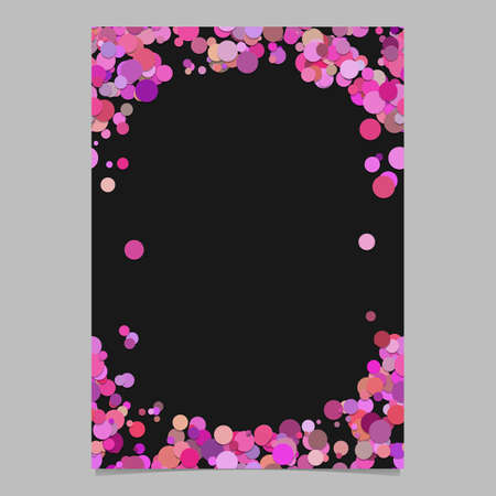 Color abstract random dot design card template - digital vector blank page frame illustration from dots