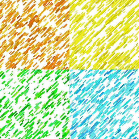 Color abstract random diagonal stripe pattern background set - vector graphic designs from colored lines on white background