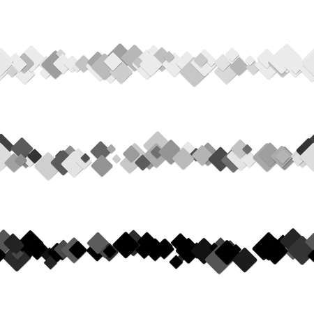 Repeatable abstract square pattern text rule line design set - vector design elements from diagonal rounded squares in grey tones with shadows