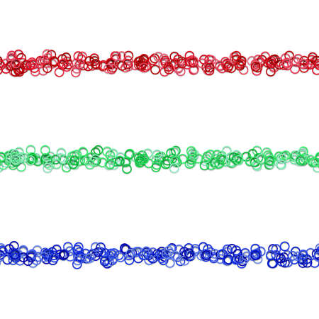 Colored circle ornaments formed in three rows.