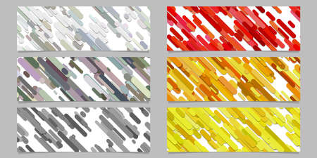 Moderner nahtloser gelegentlicher Schrägstreifenmusterfahnenhintergrund-Designsatz. Horizontale Rechteckvektorgrafikdesigne.