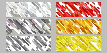 Modern seamless random diagonal stripe pattern banner background design set. Horizontal rectangle vector graphic designs.