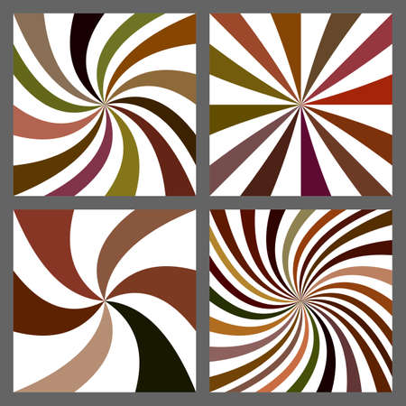 Abstract spiral and starburst background design set Illustration