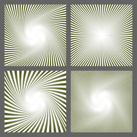 Abstract spiral ray and starburst background design set Illustration