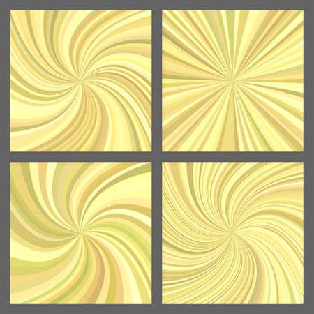 Yellow spiral ray and starburst background set
