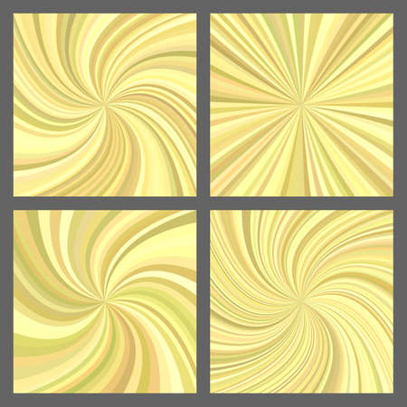 Yellow spiral ray and starburst background set