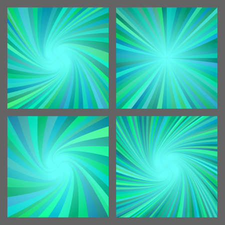 Teal abstract spiral and ray burst background design set Illustration