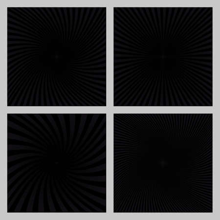Black spiral ray and starburst background design set. Illustration