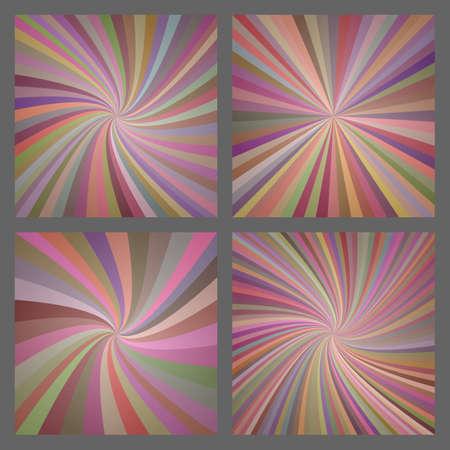 Colorful retro spiral and ray burst background design set Ilustração