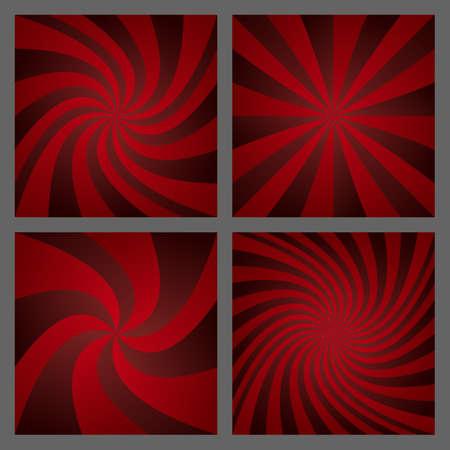 Dark red spiral ray and starburst background design set.