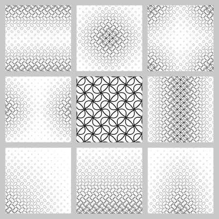 Black and white ellipse pattern design set.